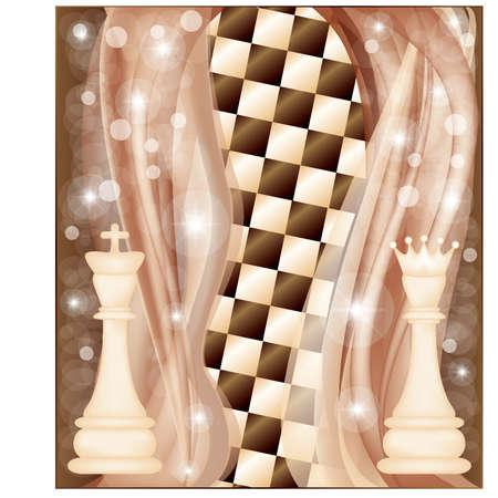 Schaken kaart met koning en koningin, vectorillustratie Stock Illustratie