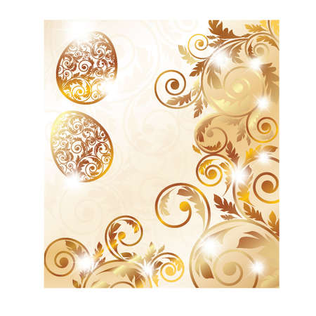 Easter golden card, vector illustration Vector