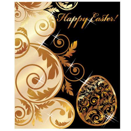 golden eggs: Happy Easter golden banner, vector illustration