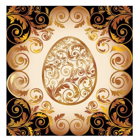 Easter card with golden egg. vector illustration Vector