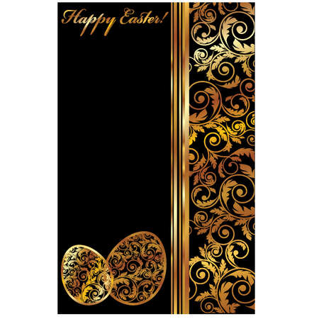 golden border: Luxury Easter banner with two golden eggs, vector illustration