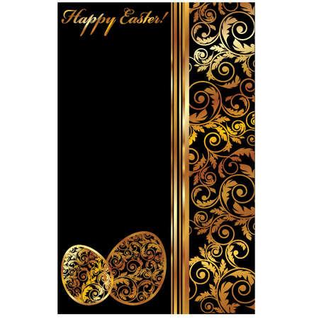 golden eggs: Luxury Easter banner with two golden eggs, vector illustration