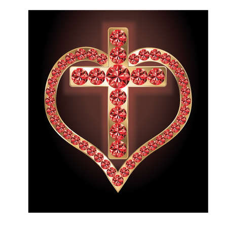 Ruby golden cross and heart, vector illustration Vector