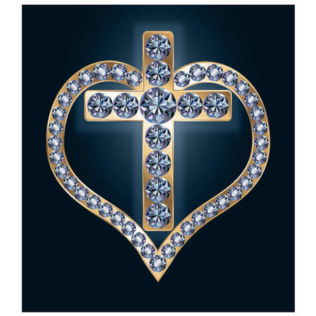 Diamond cross with heart, vector illustration Vector