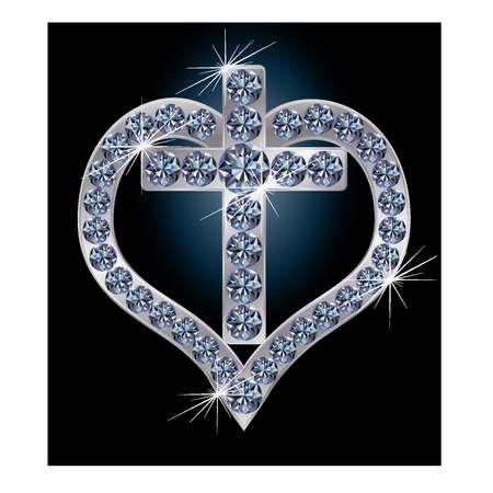 천국: 다이아몬드 심장 벡터 일러스트와 함께 십자가
