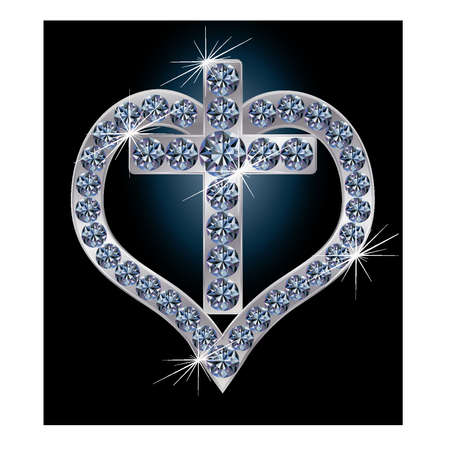 Diamond cross with heart, vector illustration Stock Vector - 12201950