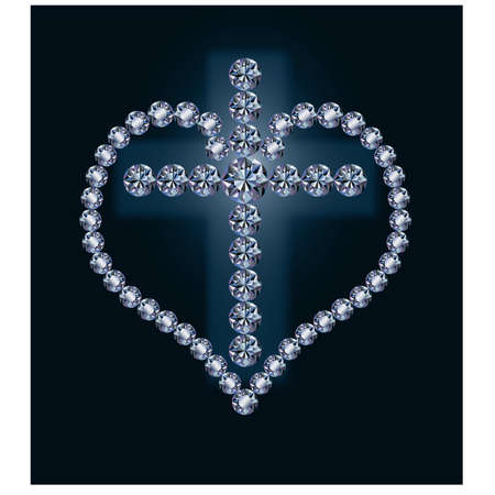 Diamond cross and heart, vector illustration Vector