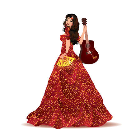 sensuality: Spanish girl with guitar, vector illustration Illustration