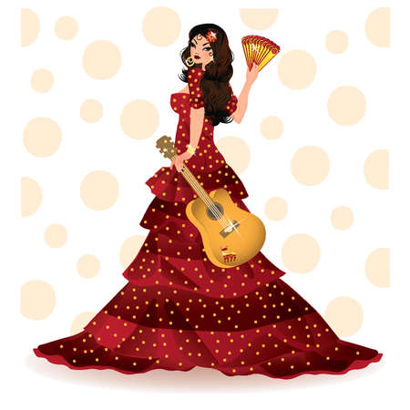 bailarina de flamenco: Chica española con la ilustración vectorial de guitarra,