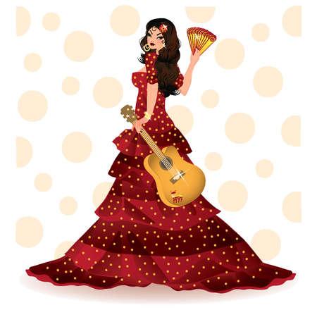 Spaans meisje met gitaar, vector illustratie Stock Illustratie