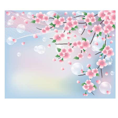 Primavera tarjeta con sakura. ilustración vectorial