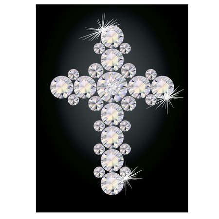 zircon: Beautiful Diamond cross, vector illustration