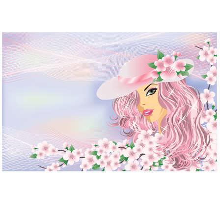 Spring girl, vector Stock Vector - 12484682