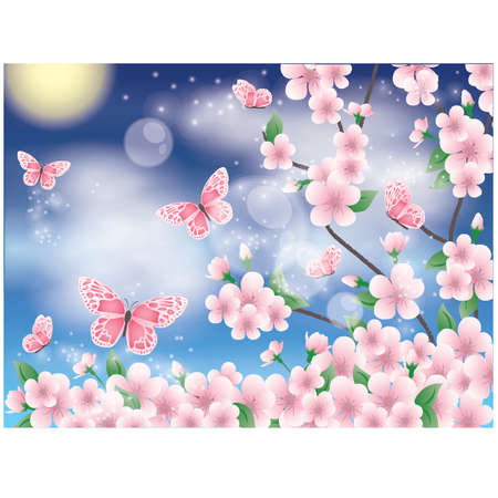 Spring card with sakura and butterfly, vector illustration Vector