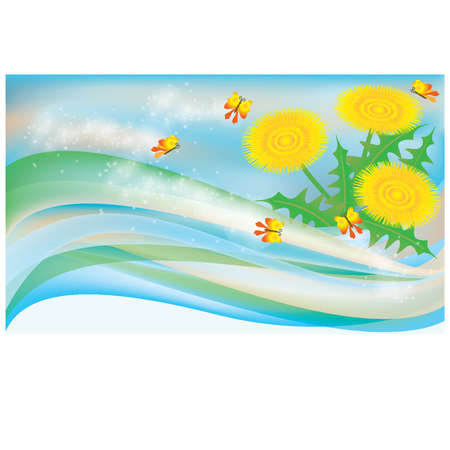 Spring banner with dandelions  vector illustration Vector