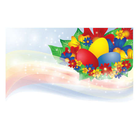 pasch: Easter banner with eggs and flowers, vector illustration