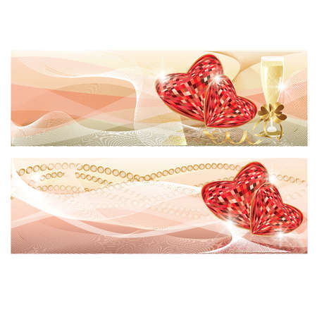 ruby: Wedding love banners, vector illustration Illustration