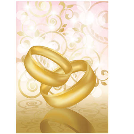 betrothal: Two gold wedding rings  Vector illustration
