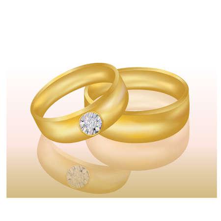 rich couple: Golden Wedding rings, vector illustration