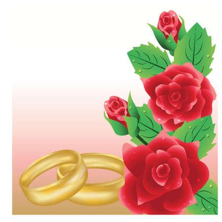 Tarjeta de boda con anillos de oro, ilustración vectorial