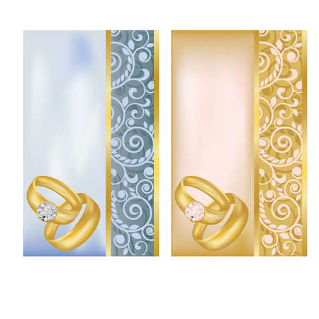 Set vertical wedding banners, vector illustration Ilustração