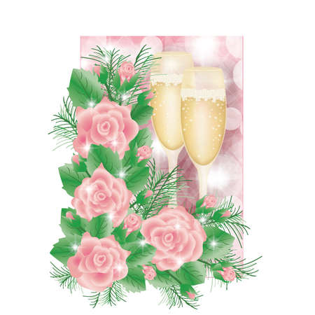 scrapping: Greeting card with champagne and roses, vector illustration