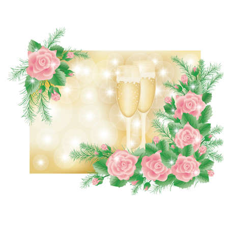 Love roses and champagne wine , vector illustration