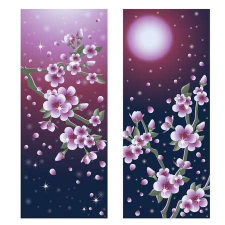 vertical garden: Beautiful Sacura banners, vector illustration