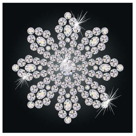 gem: Beautiful diamond flower, vector illustration