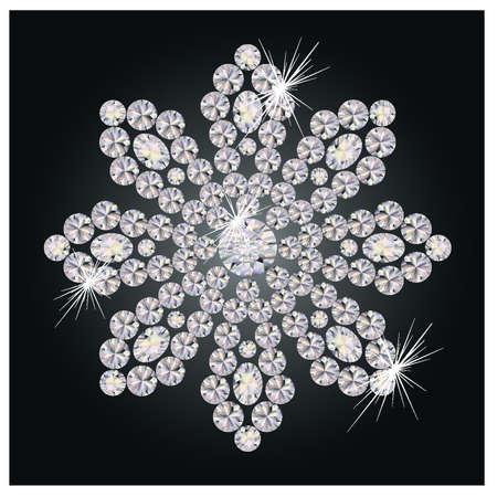 piedras preciosas: Hermosa flor de diamantes, ilustraci�n vectorial Vectores