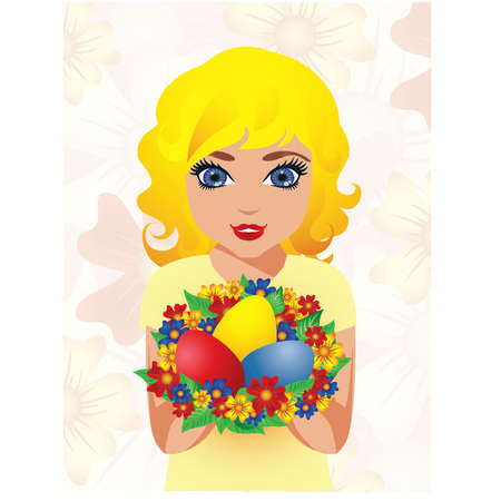 Beautiful Girl with Easter Eggs , vector illustration Vector