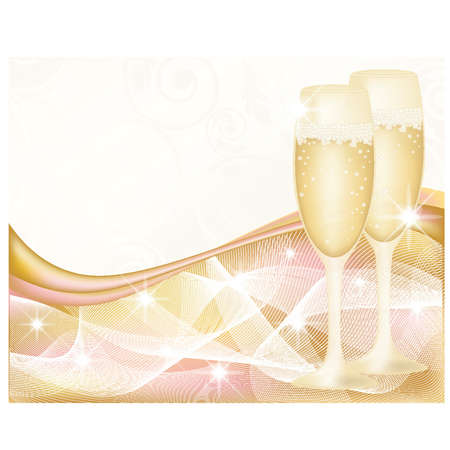 wedding ceremony: Greeting card with glasses champagne, vector