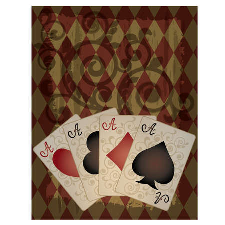 card game: Poker wallpaper in retro style, vector illustration  Illustration