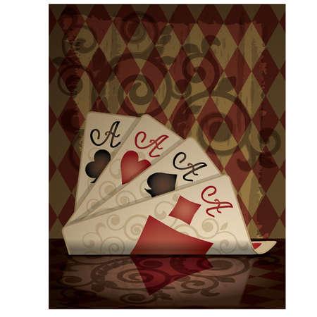 Cartas de p�quer en estilo retro, ilustraci�n vectorial