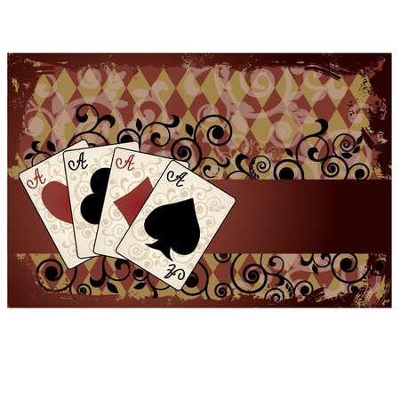 Casino achtergrond met poker kaarten, vector illustratie