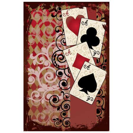 aces: Poker Vintage Poster , vector illustration Illustration