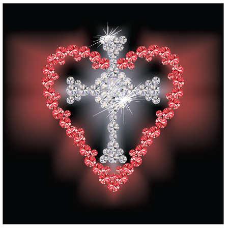 sacre coeur: Diamant croix religieuse et de rubis coeur, illustration vectorielle Illustration