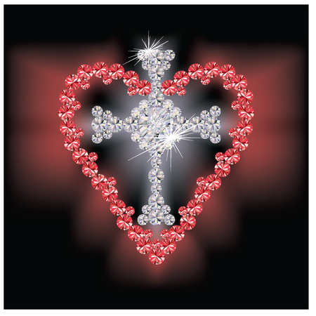 sacred heart: Diamond cross religious and ruby heart, vector illustration