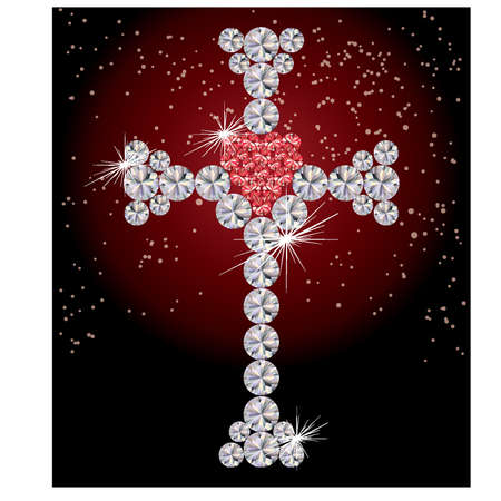 zircon: Precious cross with heart, vector illustration