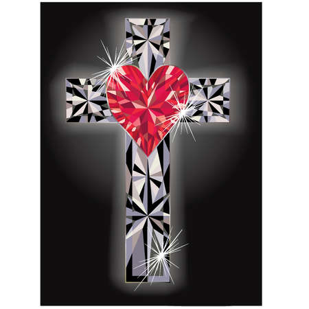 Diamond cross religious, vector illustration Vector