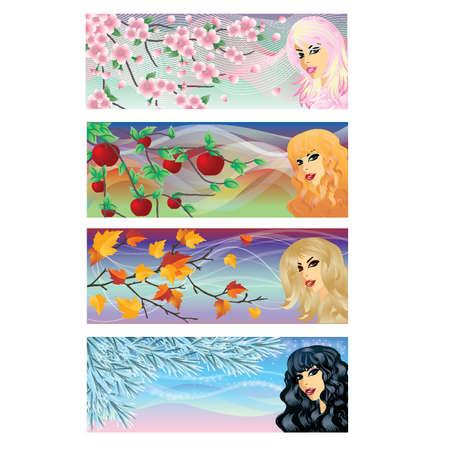 red haired girl: Season banners, vector illustration