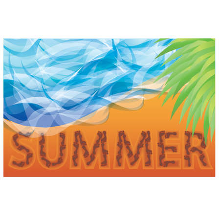 Summer from human footprint on sand, vector illustration