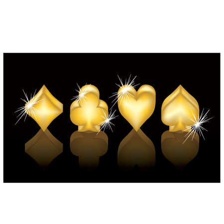 card suits symbol: Casino banner  Golden poker elements, vector illustration