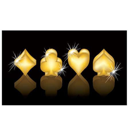card suits: Casino banner  Golden poker elements, vector illustration