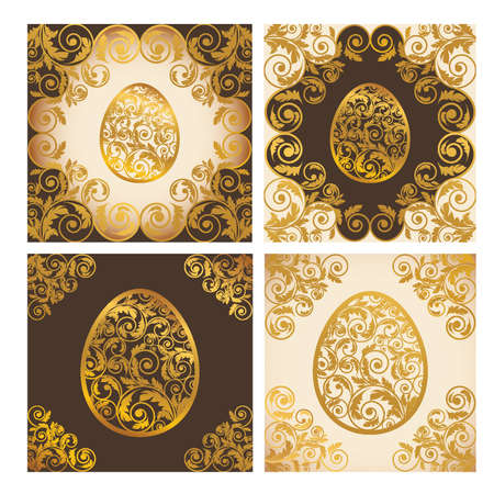 scrap gold: Set easter cards, vector illustration Illustration