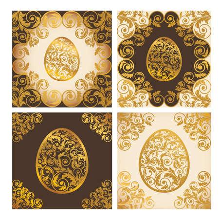 golden religious symbols: Set easter cards, vector illustration Illustration