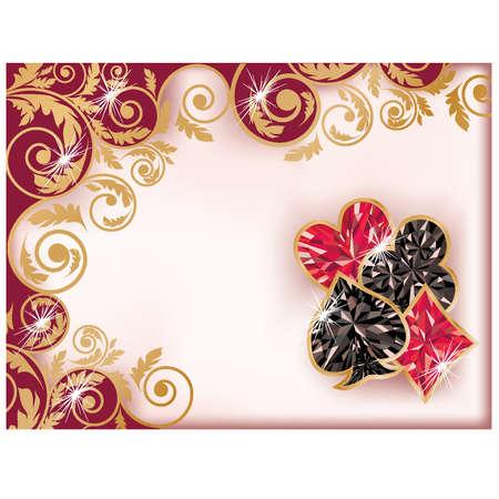 carats: Casino card with diamond poker elements, vector illustration Illustration