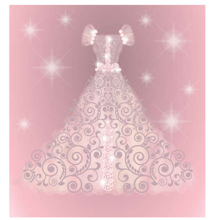 Precious wedding dress, vector illustration Vector