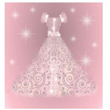 Precious wedding dress, vector illustration Illustration