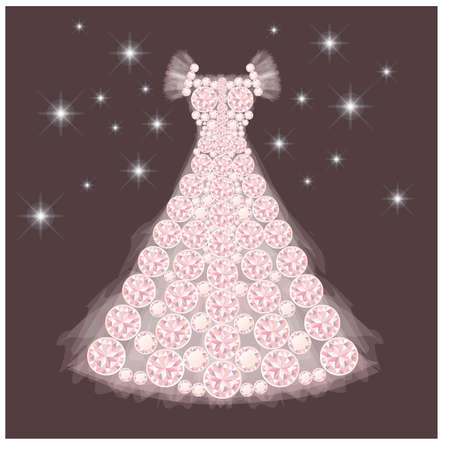 Diamond wedding dress, vector illustration Vector